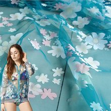 Small Suihua garden Summer Wind dress Eugen yarn fabric Chiffon printing fabric burnt yarn DIY screens