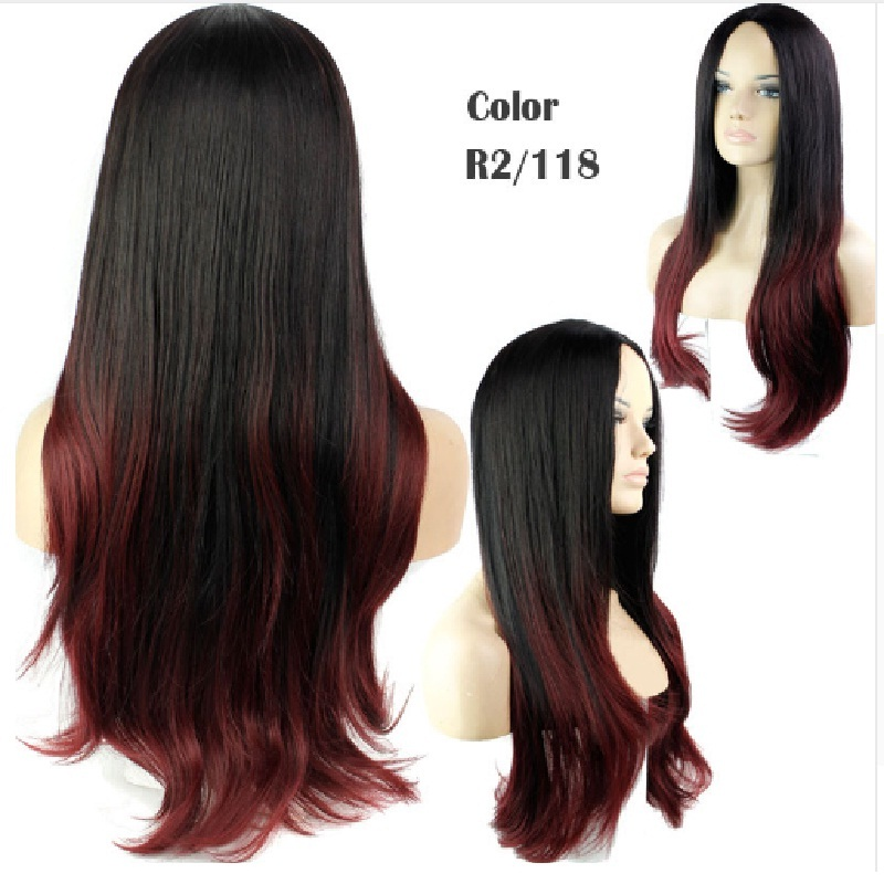 Cheap full none lace synthetic hair wigs for black women african american black synthetic wig cosplay hairstyles long wavy<br><br>Aliexpress
