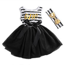 Newborn Kids Baby Girl summer Striped sleeveless o-neck black Bow mesh Dress Tulle Tutu Dresses Sundress +sequins headband 0-4Y