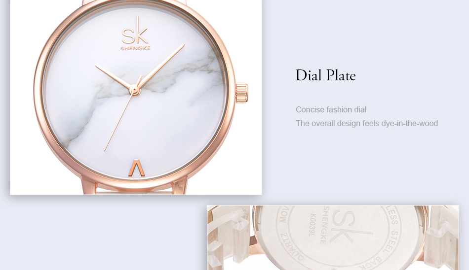 Shengke Top Brand Fashion Ladies Watches Leather Female Quartz Watch Women Thin Casual Strap Watch Reloj Mujer Marble Dial SK 33