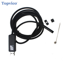 Topvico Mini USB Endoscope Borescope PC HD 7mm Diameter Lens 2.0m Car Cable Inspection Pipe Video Camera Snake Tube 6 LEDs