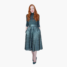 Fashion Shiny Maxi Skirt Emerald Dark Green Mid Calf Sequins Skirts American Apparel Custom Made Female For Formal Party(China)