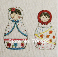 Hand dyed Cotton Linen Printed Quilt Fabric For DIY Sewing Patchwork Home Textile Decor 20x20cm Matryoshka doll