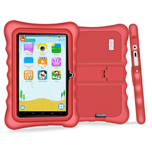 "Yuntab 7"" Q88H Quad Core touch screen Tablet PC load Iwawa kid software 3D-Game bluetooth Kids Tablet  with Chic stand Case(red)"