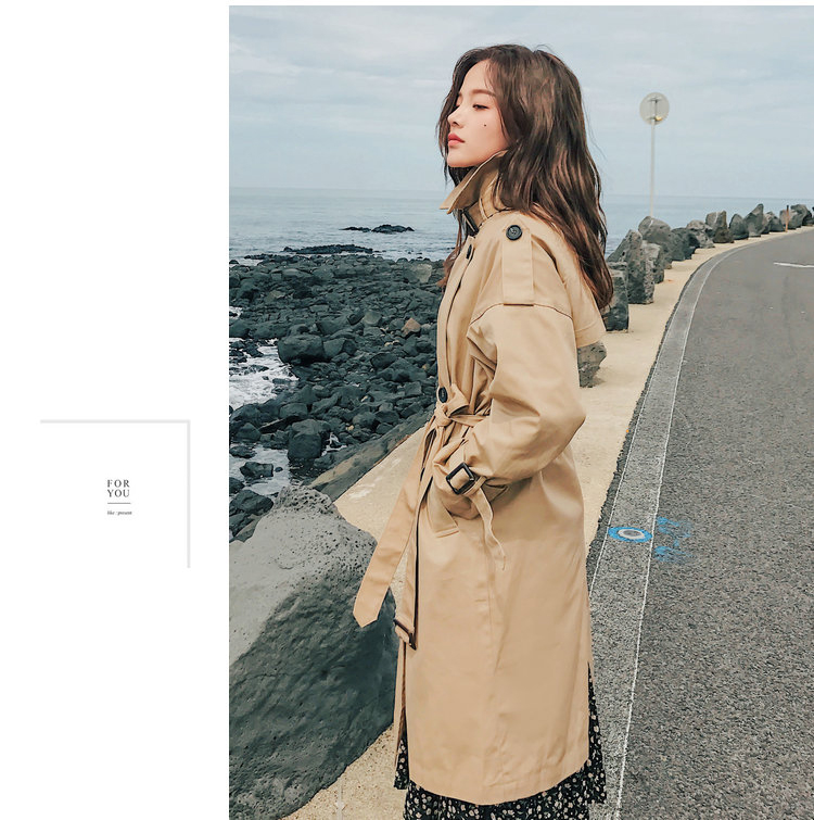 19 Fashion Brand New Women Trench Coat Long Double-Breasted Belt Khaki Office Lady Clothing Autumn Spring Outerwear Quality 10