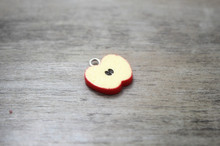 30pcs/lot 17*15mm resin fruit charm apple Sliced resin cabochons , Miniature Food Charm