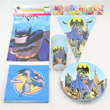 Batman Cups Flags Paper Plates Happy Birthday Party Decoration Tablecloth Kids Favors Baby Shower Supplies 6 People 34pc\lot