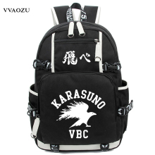 Anime Haikyuu Haikiyu Karasuno Backpack Nylon Student Schoolbag Unisex Travel Bags Fashion Travel Laptop Shoulders Bag(China)