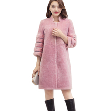 Cheap Women Winter Warm Long Imitation Mink Fur Cashmere Coat Mandarin Collar Covered Button Full Pelt Fur Outwear XHSD-161