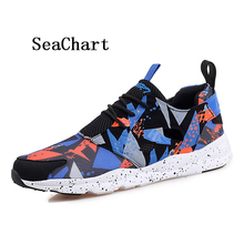 SeaChart Men's Running Shoes Fabric Weave Flat Shoes Sports Athletic Colorful Women's Sneakers Lover Breathable Zapatos Mesh