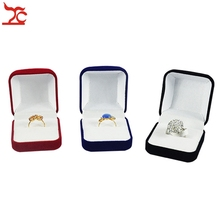 Retail Black/Red/Blue 3 Color Available Blocked Wedding Jewellery Earring Ring Storage Box Gift Packing Box For Jewelry(China)