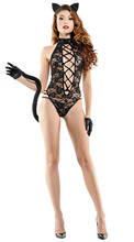 Women's Vixen Kitten Lace Lingerie Costume Set Kitty Ears Headband
