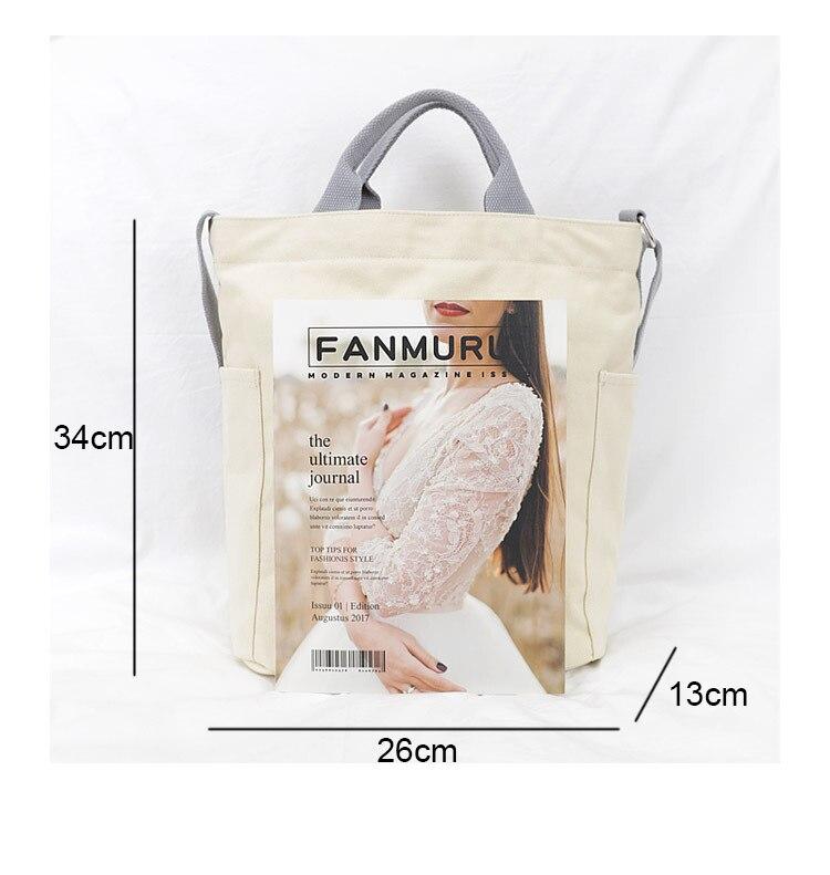 Boshikang Women Canvas Tote Ladies Casual Shoulder Bag Foldable Reusable Shopping Bags Beach Bag Female Cotton Cloth Handbag 43 Online shopping Bangladesh