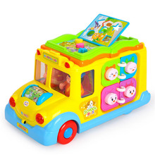 Abbyfrank Plastic Smart School Bus Car Model Electronic Educational Toys For Baby Children Musical Flashing Crawling Toys(China)
