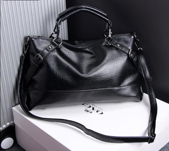Female bag simple style soft waterwashed leather fashion large capacity bag vintage messenger shoulder bag black  x-*99869<br>