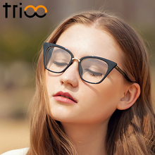 TRIOO New Black Cat Eye Women Eyeglasses Clear Lens Spectacle Frame 2017 Fashion Female Sun Glasses Optical Eyewear Transparent