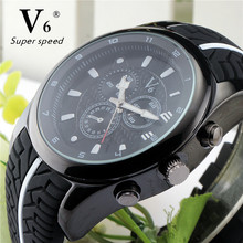 Vogue Fashion V6 Top Luxury Men Watch Cool Tire Silicone Band Black Clock Analog Military Man Sport Casual Wristwatch Reloj Gift(China)