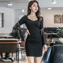Autumn Women Club Cloth Bead Solid Bodycon Vestidos Dress Spring Flare Sleeve Chiffon Patchwork Black Party Mini Sexy Dresses(China)