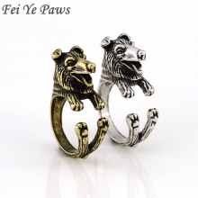 Australian Shepherd Vintage Rough Collie Dog Ring Anel Boho Chic Border Collie Rings For Women Men Jewelry Best Friend Aneis