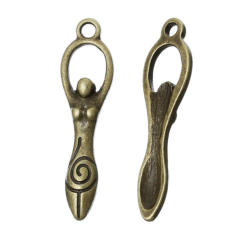 DoreenBeads Zinc metal alloy Charm Pendants Goddess Antique Bronze Graceful goddess Hand carved Antique Charm Pendants Hot 6 PCs (2)