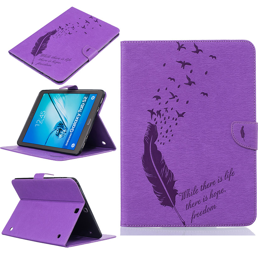 Luxury Tablet Feather Style PU Leather Cases For Samsung Galaxy Tab S2 9.7 SM-T815 T810 T815 T815C SM-T810 Cases Bag Card Holder<br><br>Aliexpress