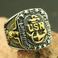 Mens Boys 316L Stainless Steel Eagle Star Anchor USA Navy Ring
