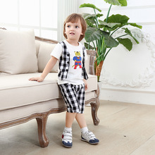summer boys clothing sets gentleman kids plaid suits short sleeve baby boy suit children clothing manufactur animal print set