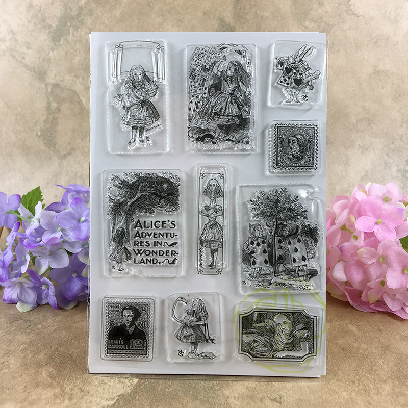 Alice Adventures in Wonderland Porker Scrapbook DIY photo cards account rubber stamp clear stamp transparent stamp  11*16CM <br><br>Aliexpress