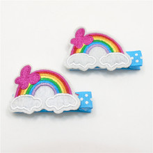 10pcs/lot Cartoon Rainbow Hair Clips Non Slip Felt Embroidery Cute Hairpin Kid Dot Girls Barrettes Chic Cloud Colorful Grip