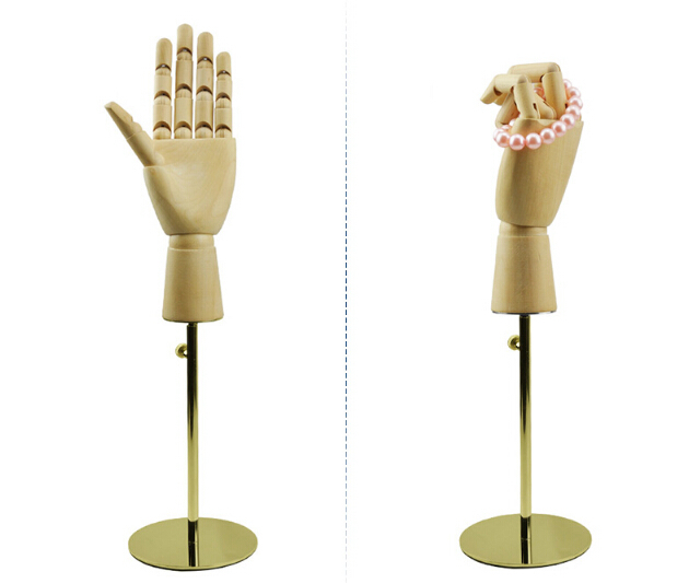 adjustable titanium gold wooden handmould fingers moving bag wallet purse watch jewelry holder desktop standing rack