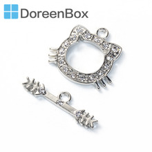 Doreen Box Zinc Based Alloy Toggle Clasps Cat Animal Dull Silver Color Clear Rhinestone Component 25mm x7mm 21mm x20mm, 2 Sets(China)