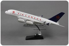 Brand New 1/150 Scale Airplane Model Toys Air Canada Airbus A380 Resin 47cm Diecast Metal Plane Model Toy For Gift/Kids