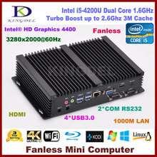 Best price Fanless Industrial Mini PC Windows 10 Rugged ITX Aluminum Case Intel Core i5 4200U HTPC TV Box RS232 WiFi USB NC320(Hong Kong)
