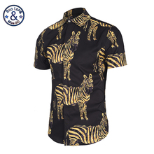 NEW 3D Printed Golden Zebra Pattern Shirts Men Pattern Casual Fancy Fit Slim Dress Shirt Camasia Social Masculina Brand Clothing