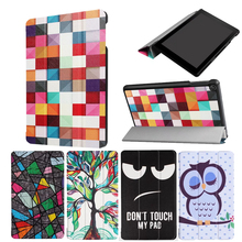 New Painted 3-Folding Coque For Kindle Fire HD 8 2017 Case Bracket Stand PU Cover for Amazon Kindle New Fire HD8 2017 Flip Case(China)