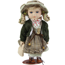 Hot Simulation 12 Inch Porcelain Dolls Classical Girl with Hat Doll Realistic Ceramic Baby Toys Birthday Gift Can Stand for Kits