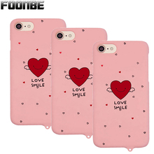 Smile Love Heart Cover Phone Cases For iPhone 6 6s 6Plus 7 7 Plus Fashion Kitty Cat Pink Matte phone Cases With Rope