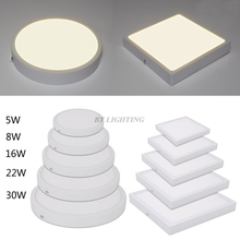 Ultra-thin Round Square Panel LED Aluminum LED Panel Light 5w 8w 16w 22w 30w Surface Mounted Downlight ceiling down lamp 220v
