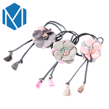 M MISM 2017 New Flower Elastic Hair Bands Lovely Tassel Ponytail Holders Scrunchy For Girls Women Elegant Hair Rope Gum Fot Hair(China)