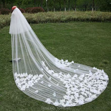 Fashion Cathedral Veil Long 3 Meters White Applique Flowers Veil With Comb Free Shipping 2017 New Arrival