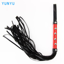 1 pcs Erotic Toys Sexy Whip Black Lash Red Handle For Adult Game PU Leather Flirt Toys Sex Toy Products Couple Role Play