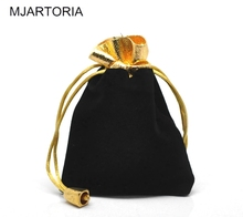 "MJARTORIA 20PCs Black Velvet Pouch Drawstring Pouches Jewelry Gift Bags For Jewelry Packaging & Display 12cmx9cm(4 6/8""x3 4/8"")(China)"