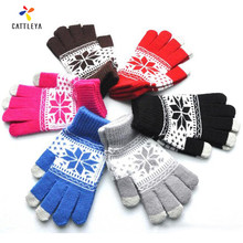 Hot Accessories Adult Girls F Gloves Unisex Stretch Male Knitted Gloves For Women Heart Snowflake Mittens Female Gloves Casual(China)