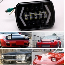 "YAIT 5"" x 7"" 7x6 90W Square with Angel Eyes High/Low H4 LED Headlight For Jeep XJ MJ Toyota Celica Nissan 240SX(s13)(China)"