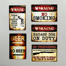 DL-warning no smoking beer bar pub Vintage wall decor Car Metal Sign decorative metal plate Cafe shabby chic Wall art Decor