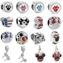 free shipping 1pc christmas gift silver mickey and minnie big hole  bead hanging charm fit pandora style  charm bracelet mix013