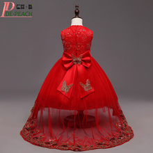 Red Bow Girls Tailing Wedding Dresses Beaded Flower Christmas Princess tutu Dress Ball Gown Children Clothing Baby Girl Dress(China)