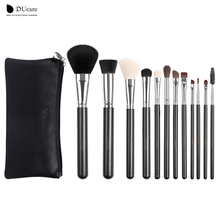 12Pcs professional Makeup Brush top Natural bristle Cosmetics Set with Leather Bags Wooden handle high quality makeup brush set