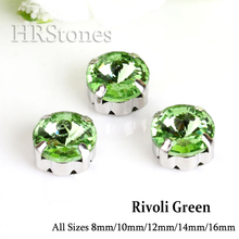 Rivoli Glass Claw Strass rhinestone Green garment factories china Crystals arts crafts sewing on Stones For Clothes Decoration(China)