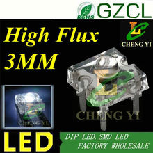 High flux white led 3mm piranha led 6000K Four-pin lamp bulb 3.0-3.5V(Alibaba supplier)